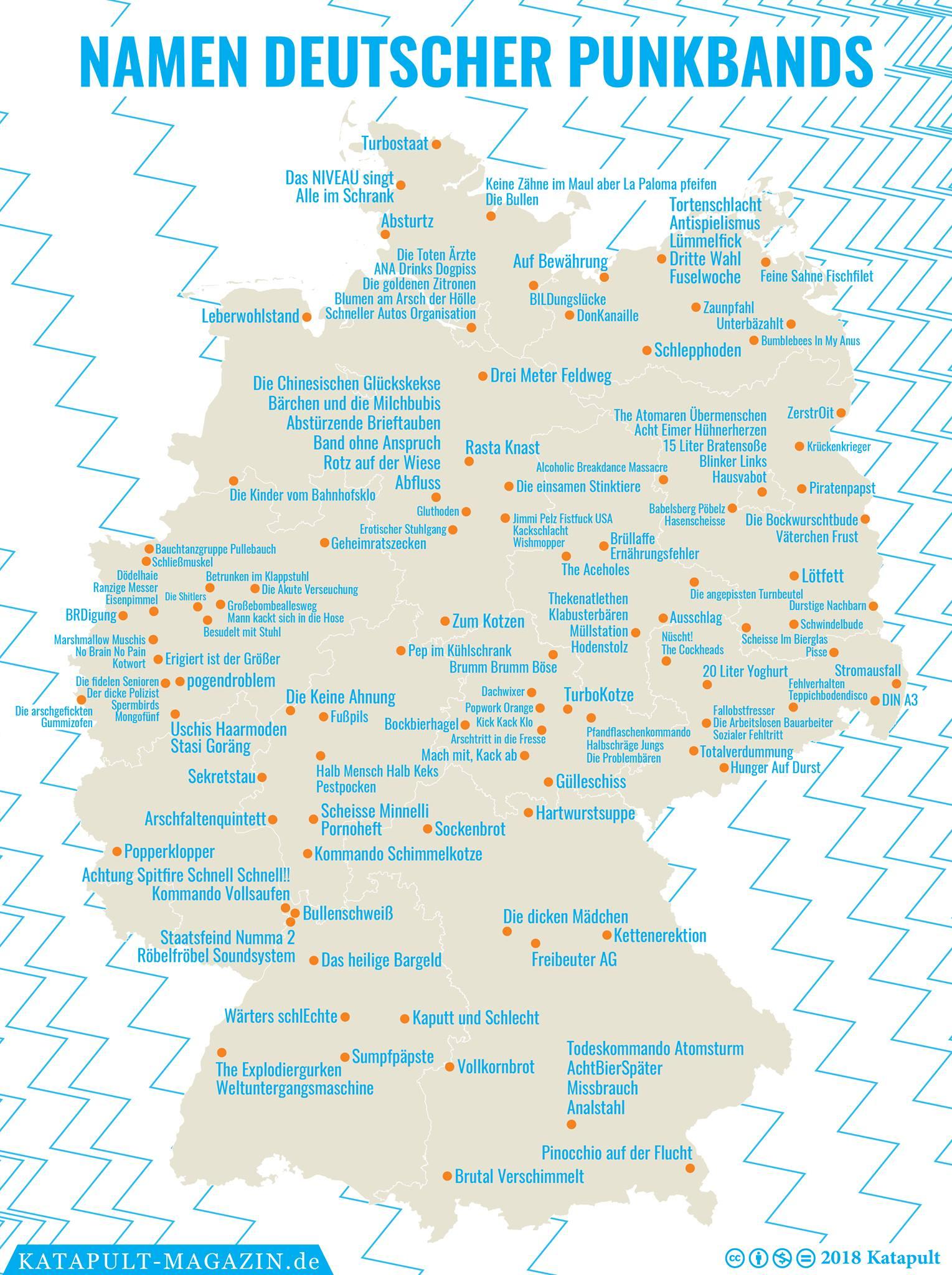 namen deutschland karte Die Namen deutscher Punkbands auf einer Deutschlandkarte