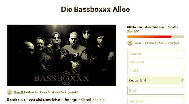 Bassboxxx Allee petition